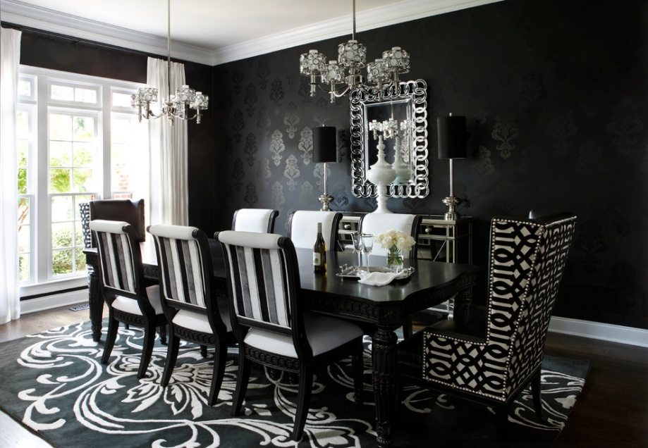 black-and-white-dining-room-wallpaper
